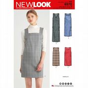 6572 New Look Pattern: Misses' Pinafore Dress with Neckline Variations
